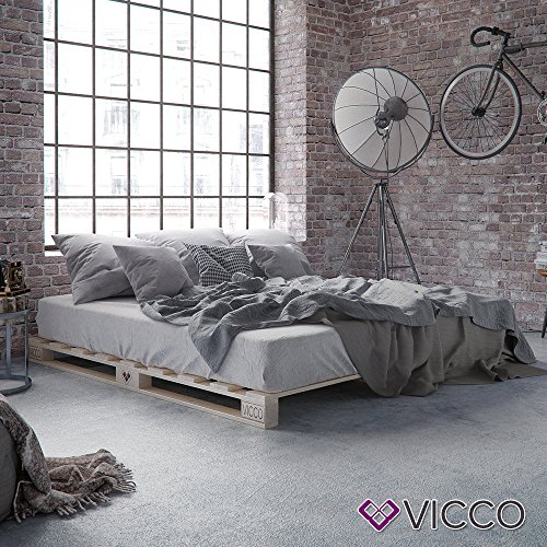Vicco Palettenbett Bett Holz Massivholzbett 90 100 120 140 160 180 200 x 200cm, Palettenmöbel Made IN Germany (160x200)