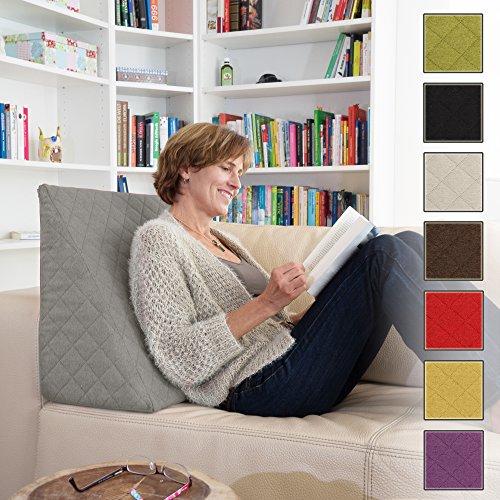 Sabeatex® Rückenkissen, Keilkissen für Couch und Sofa, Lesekissen für bequemes Sitzen. 5 Unifarben für trendiges Wohndesign. Louge-oder Palettenkissen Größe 60 cm x 50 cm x 30 cm (grau) (Großes Kissen Für Die Couch)