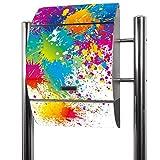 BANJADO Edelstahl Briefkasten groß, Standbriefkasten freistehend 126x53x17cm, Design Briefkasten mit Zeitungsfach Motiv Farbspritzer