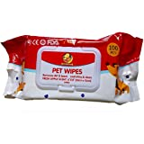 "Foodie Puppies Wet Pet Wipes for Dogs, Puppies & Pets with Fresh Apple Scent 6""x 8"" - Pack of 100 Wipes"
