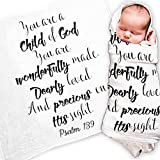 "Ocean Drop Designs - Muslin Baby Swaddle Blanket with Psalm 139 'Child of God' Quote - for Christening, Baptism & Godchild Gift - 100% Cotton, Lightweight, Breathable - Machine Washable (47""x47"")"