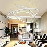 LED Pendelleuchte Modern 3 Ringe Entwurf Runden Hängelampe Kronleuchter zum Wohnzimmer Esszimmer Schlafzimmer Studierzimmer Decke Beleuchtung Leuchte Hängeleuchte Aluminium und Acryl , Warmes Licht