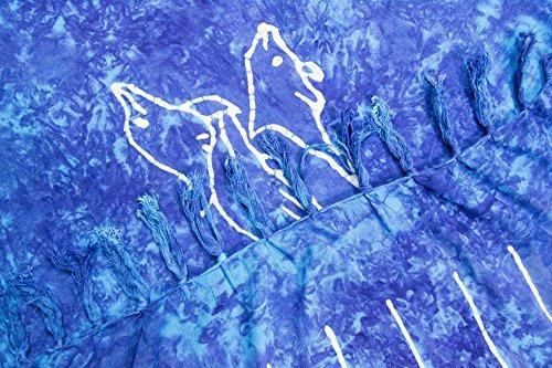 ManuMar Damen Sarong   Pareo Strandtuch   Leichtes Wickeltuch mit Fransen-Quasten Mini-Rock 55x155 cm Blau Delfin