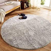 Morbuy Round Carpet Mat Indoor, 100cm Anti Slip Plush Mat Dirt Trapper Mats (100cm, gray)
