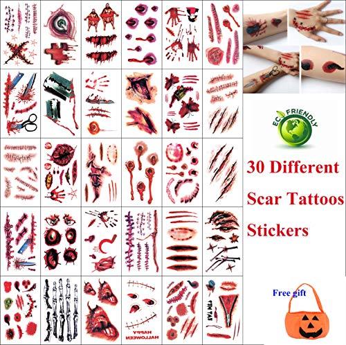 30 Blätter Halloween Temporäre Tattoos Aufkleber, Umwelt Wasserdicht Halloween Horror Blutflecken Narbe, Zombie Cosplay für Männer, Frauen - Halloween Party (9.8 * 6 cm)