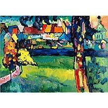 Cuadro sobre lienzo 100 x 70 cm: Town (Murnau) de Wassily Kandinsky / ARTOTHEK - cuadro terminado, cuadro sobre bastidor, lámina terminada sobre lienzo auténtico, impresión en lienzo