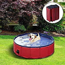 YAOBLUESEA Plegable Portátil Piscina Perro Piscina Pet Piscina de baño plegable para perro mascota rojo 120X30cm (ΦxH)