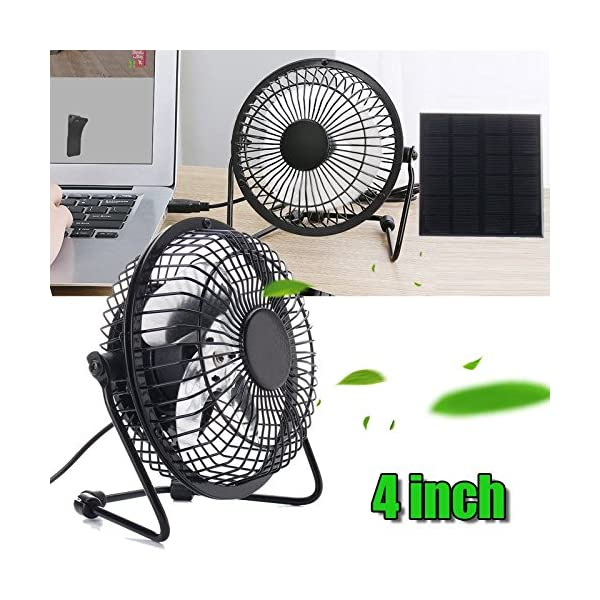 SODIAL High Quality 4 Inch Cooling Ventilation Fan USB Solar Powered Panel Iron Fan For Home Office Outdoor Traveling Fishing 9