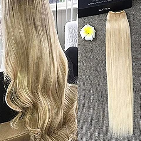 Full Shine 18inch Remy Human Hair Hairpieces 80g Flip on Hair Extensions Straight Hidden extention Extensions Color #613 Blonde