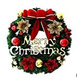 """30CM Weihnachtskranz Türkranz mit Kugeln ,Geschenkboxen, Sternen und """"Merry Christmas""""Adventskranz Weihnachtsdeko (Rot 2)"""