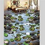 Mbwlkj Tapete 3D Boden Dekoration Zeichnen 3D Creek Fließendes Wasser Stein Weiß Tau Kran Lotus Karpfen 3D Dreidimensionale Bodenbelag-150cmx100cm