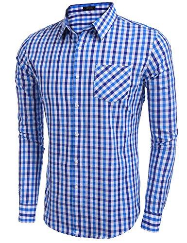Coofandy Herren Hemd Kariert Cargohemd Trachtenhemd Baumwolle Freizeit Regular Fit 54-Royalblue