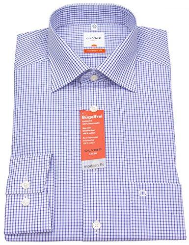 olymp-t-shirt-manches-louxor-moderne-fit-long-k6-karos-bleu-moyen-41