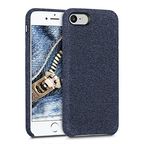 kwmobile Hülle für Apple iPhone 7/8 - Case Handy Schutzhülle Stoff - Backcover Cover Canvas Design Dunkelblau