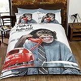 Just Contempo–Juego de funda nórdica, diseño de chimpancé, polyester-cotton, multicolor, Single