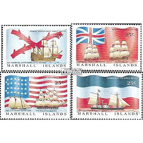 Marshall-islas 185-188 (completa.edición.) 1988 Entdeckungsschiffe y banderas (sellos para los coleccionistas)