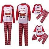 Surfiiy Pigiama Famiglia Natale Set, Mamma Adult Due Pezzi Babbo Natale Genitore-Figlio Costume Cotone T Shirt e Pantaloni Pl