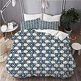WINCAN Gedruckter Bettbezug (200x200cm),künstlerisches blaues Weiß des gebürtigen Batikaquarells,Dekorative Schlafzimmer Wohnheim Hotel 3pcs Bettwäsche Set mit 2 Pollowcases (50x75CM)