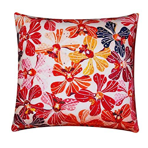 Multi Color Weiss Rosa Floral Print Seide satin Köper Kissenhülle Sofa Bett 16 x 16