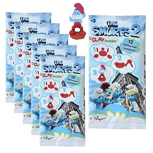 Preisvergleich Produktbild 6 Stück Die Schlümpfe Knetfiguren der Film Die Schlümpfe 2 Super Sammelspaß für Groß und Klein 12 verschiedene Motive