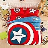 Casa enfant 100% coton Série Batman 4pièces Housse de couette et drap plat et taie d'oreiller, 100 % coton, Captain America 2, Jumeau