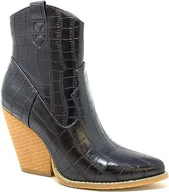 Angkorly Chaussure Mode Bottine Santiags Cowboy Rock Femme imprimé Serpent Python Verni Talon Haut Bloc 10 CM