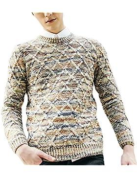 Sidiou Group Suéter de punto de color por hombre en otoño & invierno, jersey de collar redondo con forma de diamante...