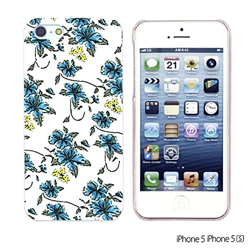 OBiDi - Flower Pattern Hardback Case / Housse pour Apple iPhone SE / Apple iPhone 5S / 5 - Colorful Flowers With Birds Small Blue Floral Print