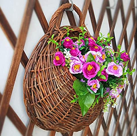 Garland usine paniers suspendus, en osier tissé à la main mural vertical de jardin Pots de fleurs, panier Vie à l'intérieur de plantation , 2 , large