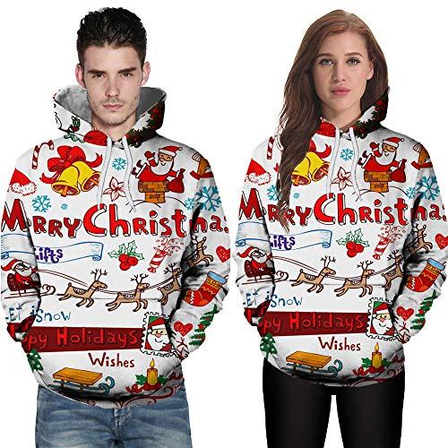 TWBB Damen Herren Christmas Paare Hoodies Slim Fit 3D Santa Claus Bedruckte Kapuzenpullover Langarm Fashion Mantel Outwear Sweatjacke