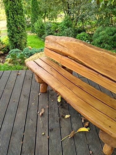Gartenbank aus Massivholz | Farbe Eiche – Parkbank aus Akazien- und Tannenholz | Perfekt als Geschenk - 9