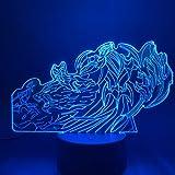 مصباح بتاثير خداع بصري ثلاثي الابعاد للطاولة باضاءة ليد ليلية للاساطير بطل الله والملك وواد وداريوس سكين، ضوء ليلي ديكور بجان