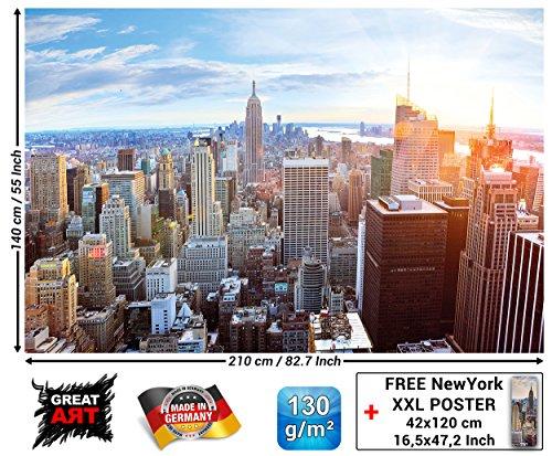 GREAT ART Fototapete - New York Skyline - Wandbild Dekoration Sonnenuntergang Manhattan Penthouse Panoramablick USA Deko Amerika Big Apple Foto-Tapete Wandtapete Fotoposter Wanddeko (210 x 140 cm) (Amerika Fotos)