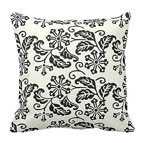 Fleur Feuille Imprimé Noir et blanc Motif floral carré Couvre-lit décoratif Taie d