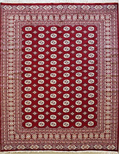 RugsTC 244 x 267 Bokhara Jaldar Area Rug with Wool Pile - Special Mori Bokhara Design Hand-Knotted in Red,White,Grey Colors | a 244 x 305 Rectangular Rug -