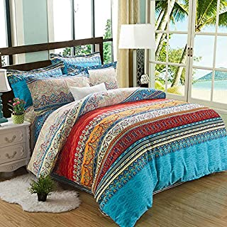 Alicemall 4 Pieces Bohemia Duvet Cover 100% Brushed Cotton Thick Bohemia Exotic Striped Bedding Set, Boho Quilt/Comforter Cover Set(Vintage, Double)