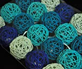 15PCS Mixed Deep Blue Light Blue White Decorative Wicker Rattan Ball Boy Baby Shower Kids Birthday Royal Wedding Anniversary Party Centerpieces Festival Event Decoration