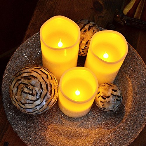 3velas LED con mando a distancia–4piezas velas de cera real con llamas para Veladas