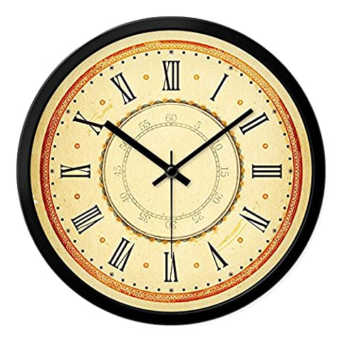 Retro Horloge murale quartz ronde, 14 cm, noir, le chiffre romain