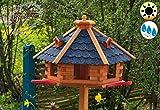 PREMIUM Vogelhaus mit Landebahn und Bitumendach, Massivholz,wetterfest, mit Silo/Futtersilo für Winterfütterung,Gartendeko Vogelhäuschen, mit Silo / Futtersilo für Winterfütterung -Holz Nistkästen & Vogelhäuser- ohne Ständer blaue Dachschindeln BGA40blOS Bitumen