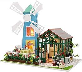 Godbless Puppenhaus 1 Stück DIY puppenhaus mit Licht Wünderschön gestaltetes Modell Kreativ Geburtstag Weihnachts Geschenk (Windmühle Blumenhaus)