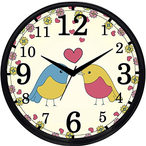 Cartoonpur Round Large Designer Decorative Love Birds Wall Clock - Non Ticking & Silent 11-Inch Wall Clock for Home / Bedroom / Living Room / Kitchen
