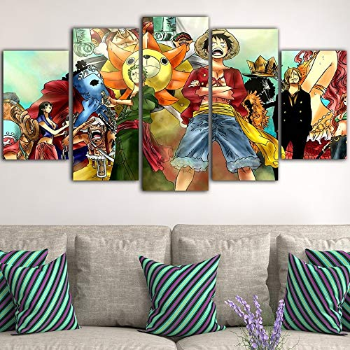 zxfcczxf Hd Printed Home Decoration Wall Pictures 5 Pieces One Piece Anime Modular Canvas Artwork Painting Poster for Living Room Framed(with Frame)-30x40x2 30x60x2 30x80x1
