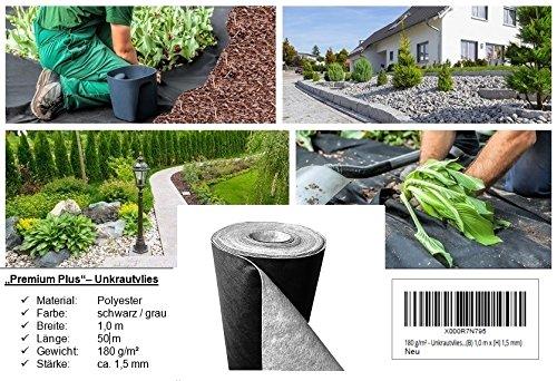 "180 g/m² - Unkrautvlies bzw. Unkrautschutzvlies ""Premium Plus"" ((L) 50 m x (B) 1,0 m x (H) 1,5 mm)"