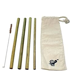 Reusable Bamboo Straws: Pack of 4-100% Biodegradable, Natural, Chemical-free