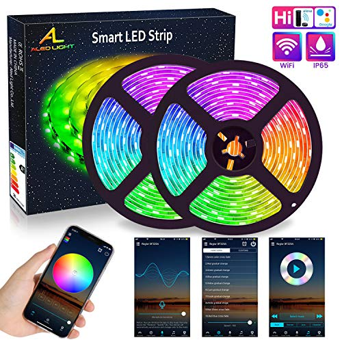 Luz de Tira LED WiFi, ALED LIGHT 5050 RGB 10 metros (2×5M) Kit de Tira LED Impermeable Funciona con Alexa, Google Home, Kit de Luces LED WiFi Exterior