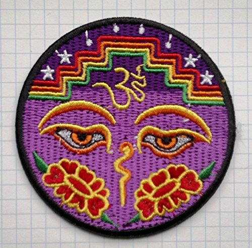 Ojos de Buda Paz Trance Yoga Lotus Gamuza de bordado Iron on patches