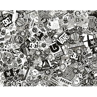ARSpeed Sticker Bomb Comic Folie mit Echtem Logos 152x100cm Schwarz Weiß