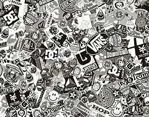 Sticker Bomb Comic Film With Real Logos 152x30 Cm Black