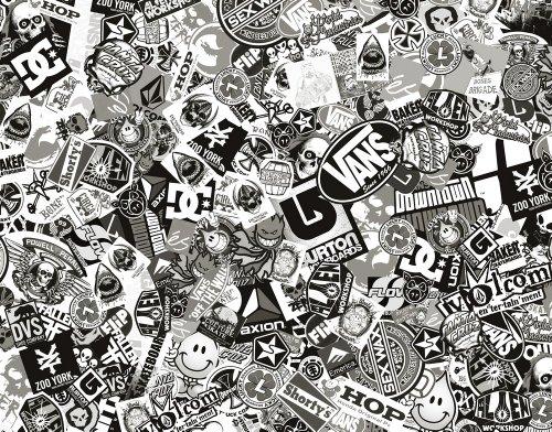 Sticker Bomb Comic Folie mit Echtem Logos 152x10cm Schwarz Weiß (Und Schwarz Weiß Logo)